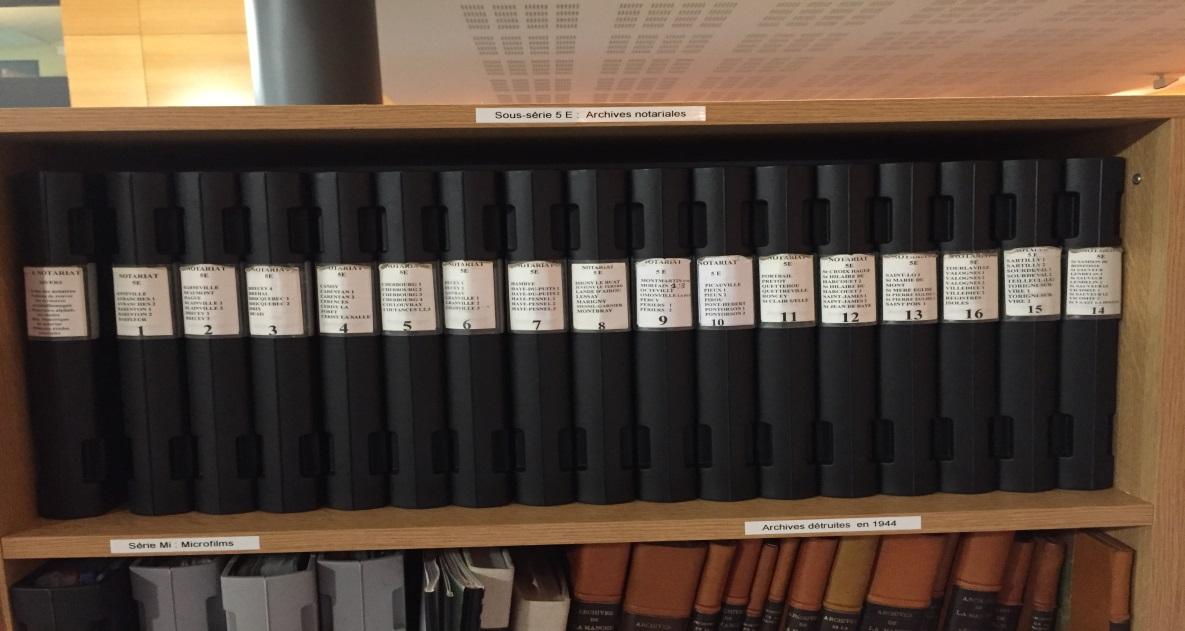 Classeurs des études notariales – Salle de lecture AD 50